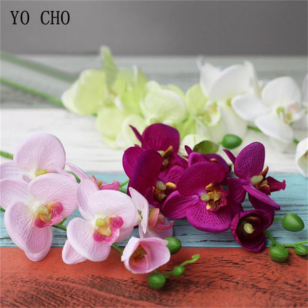YO CHO Artificial Silk Phalaenopsis Flower Arrangement DIY Home Party Office Decorations Bridesmaids Wedding Bouquet Pink Orchid Flower