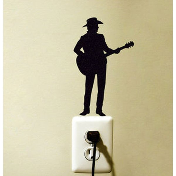 Música Country Guitar Moda Vinil Wall Switch Etiqueta Decoração Decalque