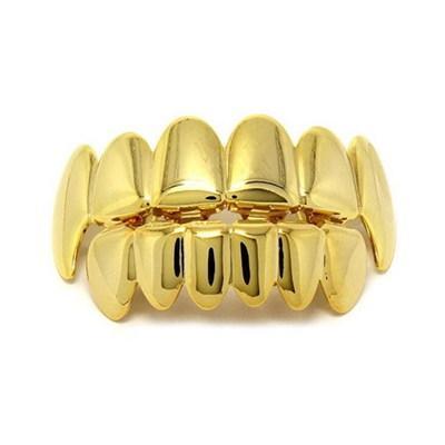 Hip Hop Cool Mens Designer Denti Grillz Lusso oro prepotente Griglie dentali Denti moda Grillz Gioielli in acciaio al titanio Migliore qualità