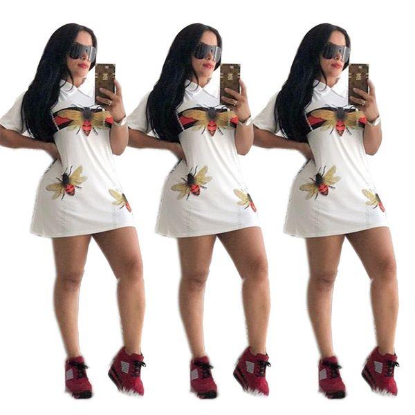 Luxury Designer Womens Dresses Bee A-Line Bodycon Dress Summer girls Dresses Clothing Party Turn Down Collar Mini Shirts Skirt 2019 C6505