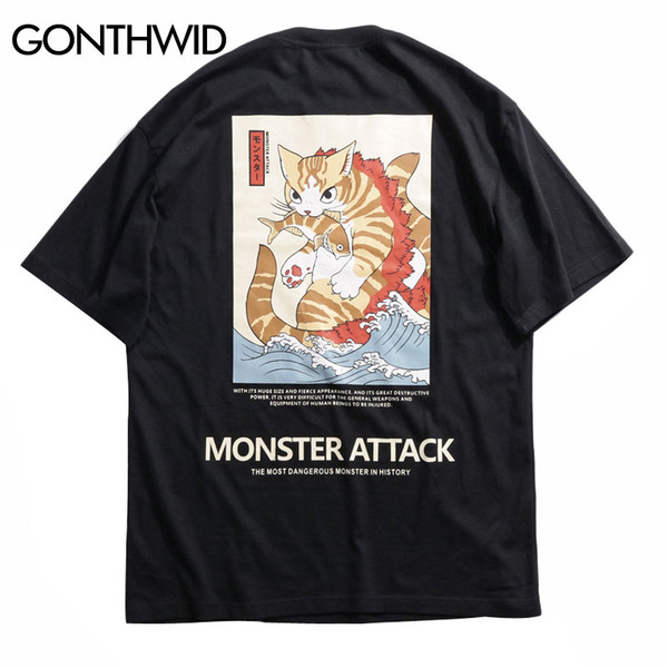 GONTHWID Japanese Ukiyo Cat Printed T Shirts Streetwear Hip Hop Harajuku Style 2019 Summer Men Short Sleeve Tees Male Tshirts