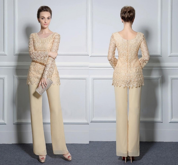 Two Piece Lace Pants Suits For Mother Of The Bride Formal Groom Dresses Jewel Neckline Chiffon Wedding Mothers Guest Dresses SH4027