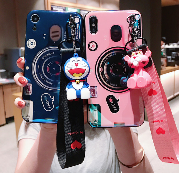 Idear Camera Phone Case With Cotton Strips For iphone X Case For iphoneXS MAx 6s 7 8 plus Cover Luxury Blu-ray Soft Cases With Mobile Holder