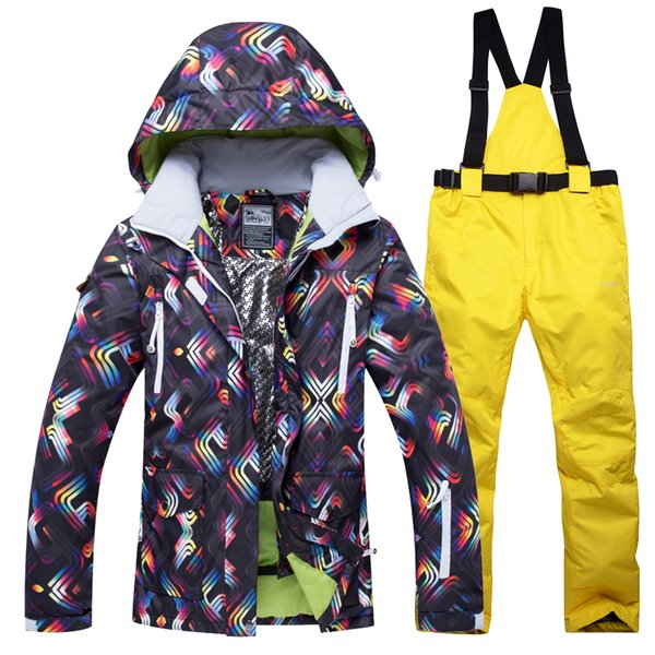 2018 New Winter Ski Jacket+Pants Women Snowboarding Suits Waterproof Breathable Ski Suit Female Outdoor climbing warm set