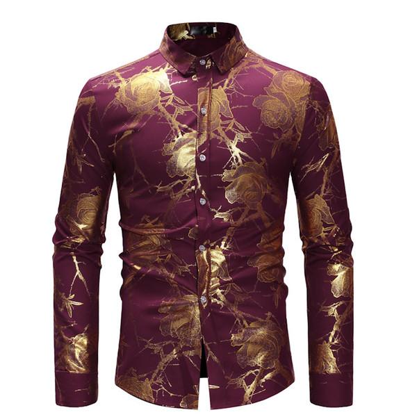 Nuovi uomini di marca Hipster Red Gold stampato a maniche lunghe Camicie a maniche lunghe Wedding party Singer fase Slim Camicia maschile casual Camisa