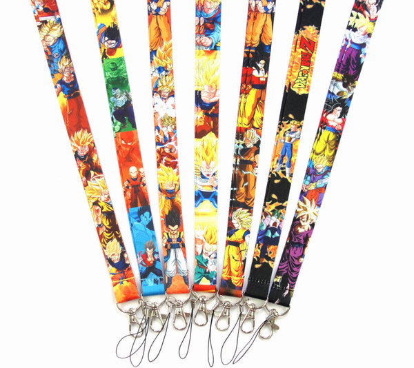 10pcs Popular cartoon Japanese anime Dragon ball Key Lanyard Badge ID Cards Holders Neck Straps with Keyring Gifts Party Favors
