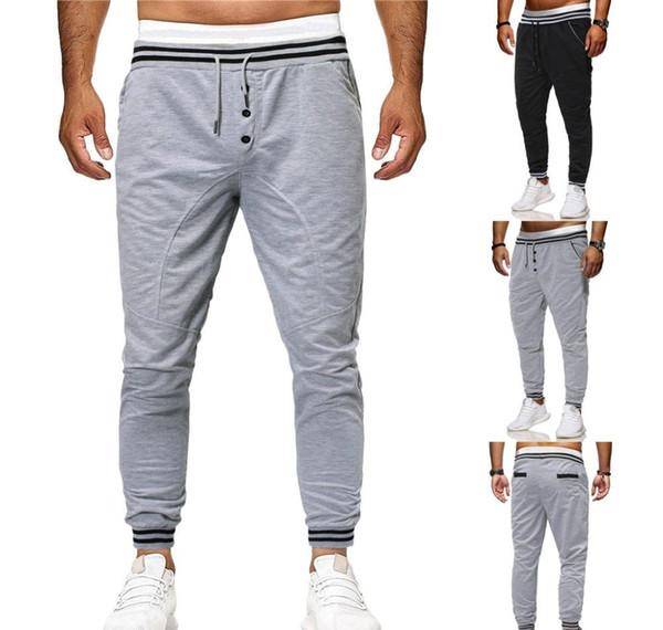 Manera de los hombres s Sport pantalones de camuflaje Conjunto de amarre Loose pantalón con cordón bragas ocasionales del tobillo de longitud pantalones rectos SWEATPANT