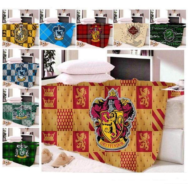 Harry Potter School Crest Blanket Winter Dual Layers Fleece Blankets for Kids Adult Cosplay Capes Home/Sofa Travel Cover Quilt 24colors