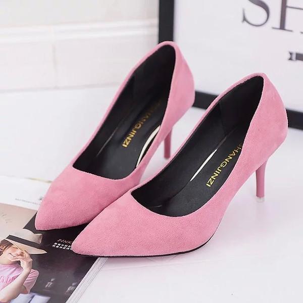 2019 Dress 2019 nuovi tacchi alti primavera e autunno moda donna scarpe monopattino in pelle scamosciata nero di grandi dimensioni professionale scarpe da lavoro