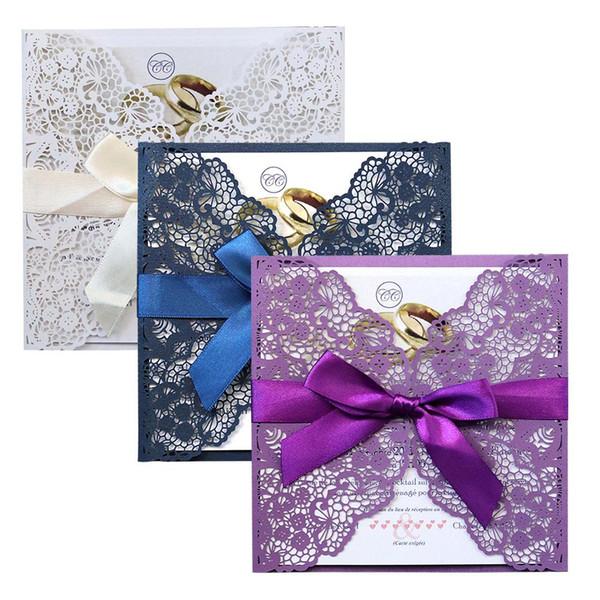 10 stücke Blau Weiß Elegant Laser Cut Hochzeitseinladungskarten Grußkarte Anpassen Visitenkarten Decor Party Supplies 4