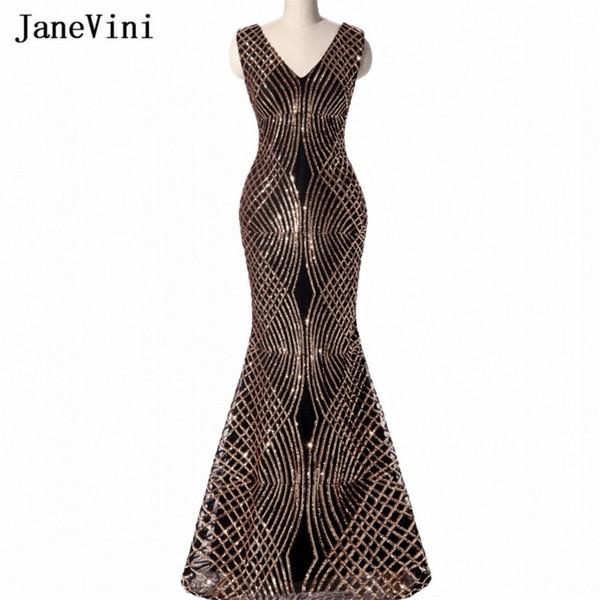 Venta al por mayor de lujo de lentejuelas doradas Vestidos largos de dama de honor Sirena negra BlingBling Vestidos formales de damas árabes para el banquete de boda