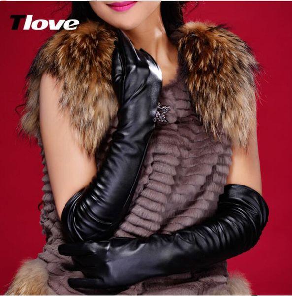 Les femmes hiver fourrure véritable de chaud lapin de mode en cuir en peau de mouton dames sexy entraînement extra célébrité longue danse de bal de mariage Gants de mariée