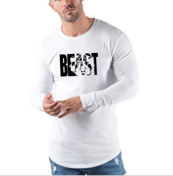 Sıcak 2019 GOLDS GYM Baskılı T-shirt erkek Uzun Kollu Vücut Geliştirme için Gymnasium Avrupa ve Amerika'da Açık gençlik
