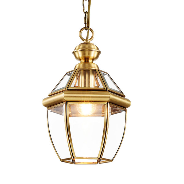 Creative personality vintage Restaurant Bar Cafe American living room pendant light wrought iron glass lampshade pendant lamp