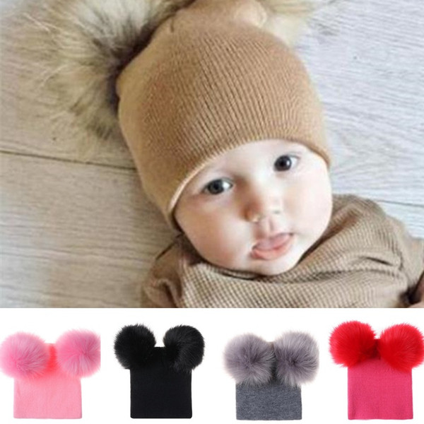 New cute baby two ball knit hat double ball wool hat Pom Pom hats baby hair ball hats Party Hats T8G009