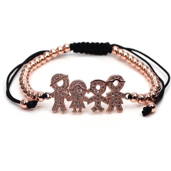 Pulseira de zircão frisado 4mm rodada trança frisada moda pulseira de cobre banhado a pulseira de jóias feliz família acessório