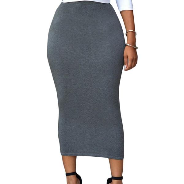 المرأة الجديدة عالية الخصر تنورة بوديكون بلون مستقيم قلم رصاص تنورة ميدي حزمة الورك طويلة