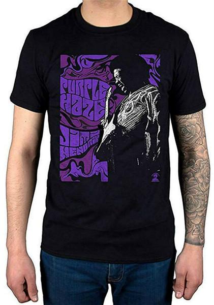 Jimi Hendrix Purple Haze Повседневный смешной с короткими рукавами из чистого хлопка Одежда Повседневный воротник Мужская модная футболка