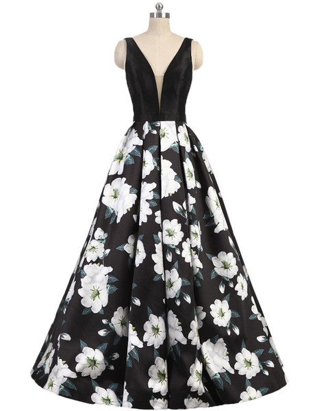best selling 2020 Sexy Printed Flower Prom Dresses Evening Gowns V Neck Sleeveless Backless A Line Ball Gown Long Formal Party Dress