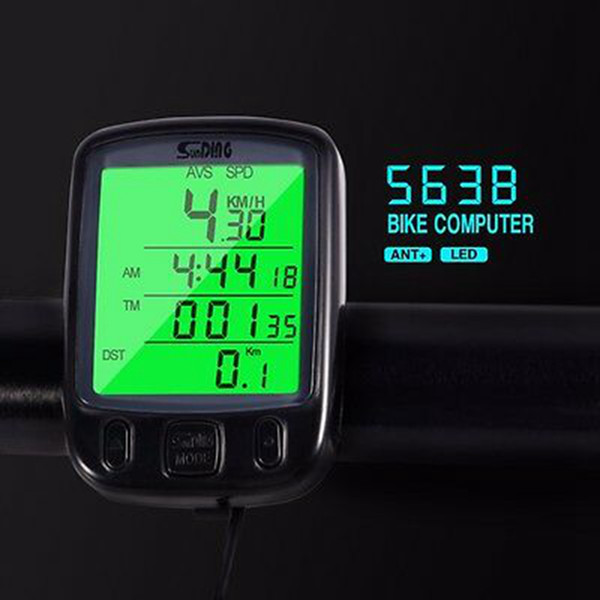 563B Wasserdichte LCD Display Radfahren Fahrradcomputer Kilometerzähler Radfahren Tacho Mit Grüner LCD Hintergrundbeleuchtung ZZA616 60 stücke