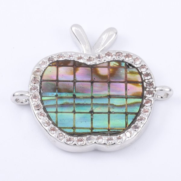 Singreal Abalone Shell Micro Pave Apple-shaped Charms Bracelet necklace Choker Pendant connectors for women DIY Jewelry making