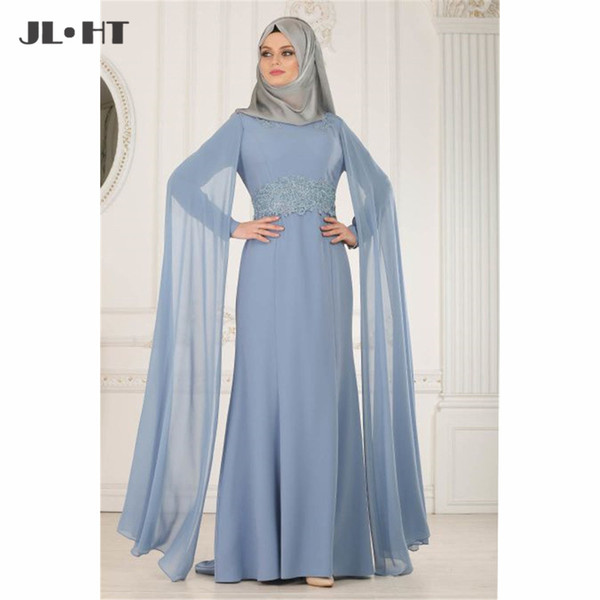 Мусульманские арабские вечерние платья с аппликациями из хиджаба Длинное платье для выпускного вечера с бисером Платье для выпускного с высокой шеей Шифон с длинными рукавами Вечерние платья