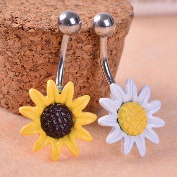 Nueva Arricel Sun Flower Medical acero inoxidable Piercing ombligo anillos Body Piercing joyería del ombligo envío gratis