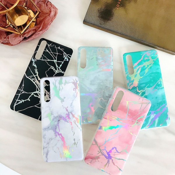 Iphone Samsung Huawei Creative mobile phone case Dirt-resistant Ultra-light new design Galvanized marble color coolful phone protect case