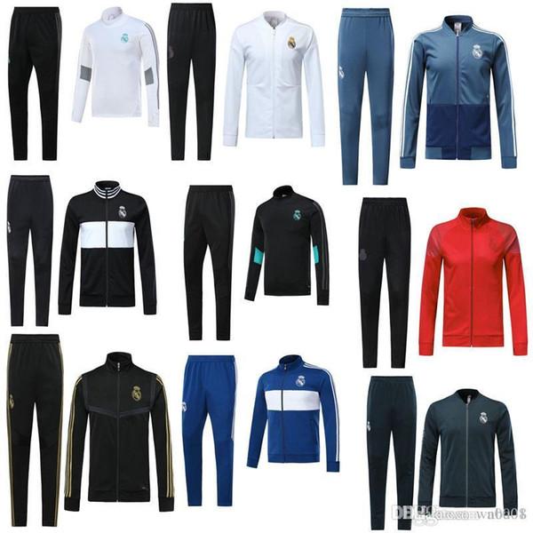 2018 2019 2020 Real Madrid eşofman yetişkin futbol chándal futbol 18 19 20 yetişkin koşu eğitim takım elbise sıska pantolon ceket Spor