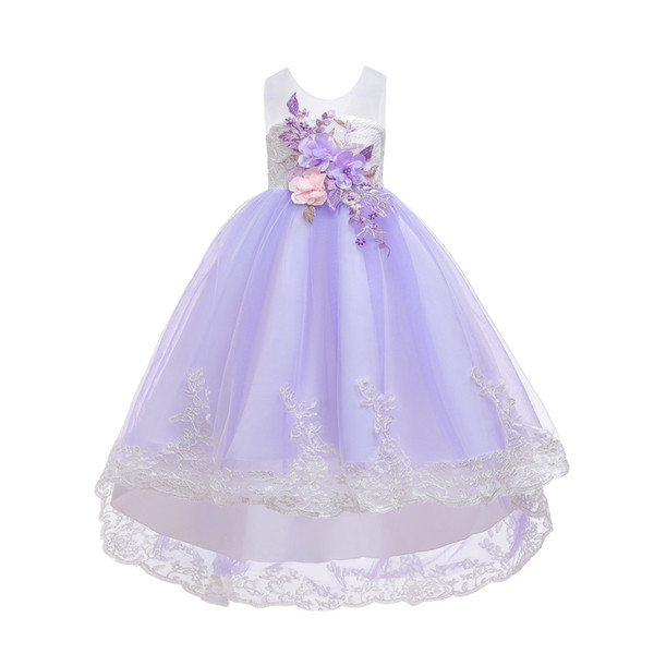 Floral Baby Girl Princess Bridesmaid Pageant Gown Birthday Party Printed Dress