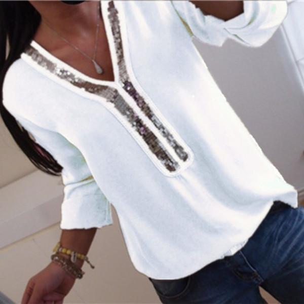 Женщины Sexy V-образным вырезом с блестками шифон блузка рубашка весна-лето элегантный офис леди блузки топы Большой размер S-5XL blusa feminina