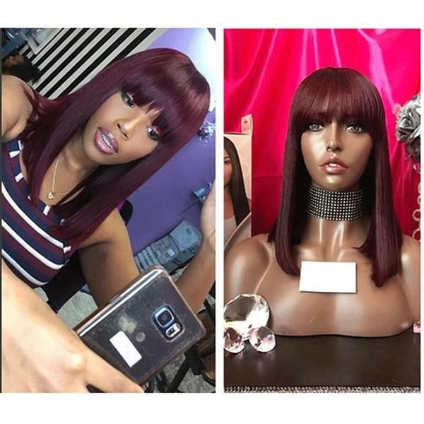 Ombre Red Bob Wigs con frangia 13x6 pizzo anteriore parrucche dei capelli umani Remy capelli lisci completo per le donne con botto capelli neri