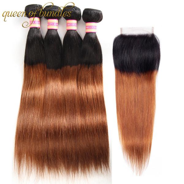 Перуанские девственные волосы прямые 3 пучки Ombre пучки человеческих волос с закрытием Ombre Blonde 1b / 30 перуанские волосы переплетения с закрытием кружева