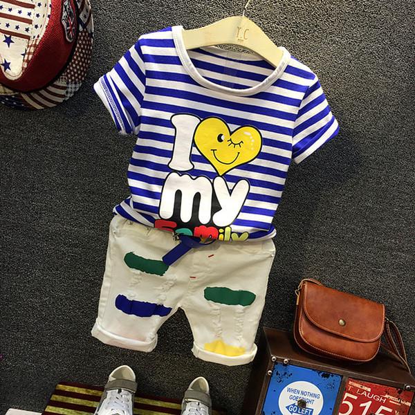 Boys summer clothing set kids striped cartoon printed t shirt and khaki short 2pcs baby short sleeve o-neck t-shirt colors short