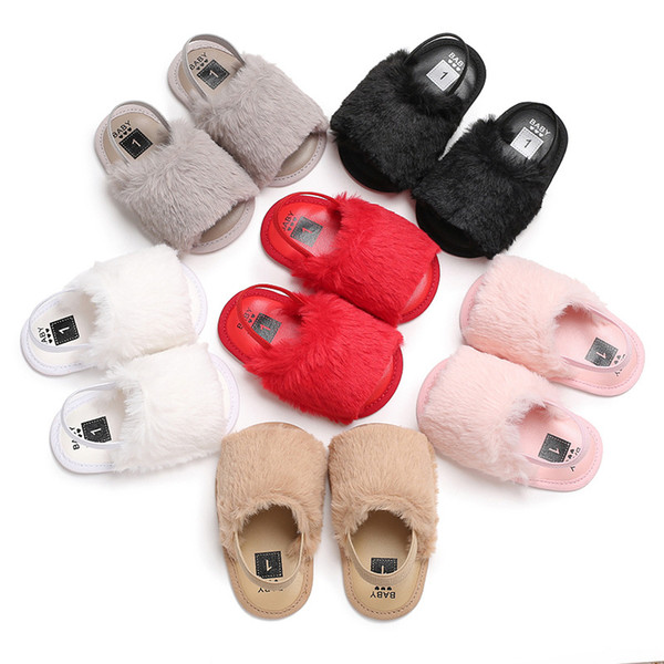 Baby Girls Fur Sandals Toddler Fashion Soft Leather Elastic Band Silicone Antiskid Shoe Kids Top Quality Solid Summer Shaggy Shoes Designer