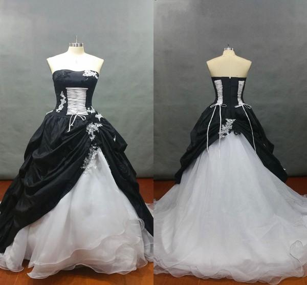 Vestido de fiesta 2019 Blanco y negro Vestidos de novia vintage Sin tirantes con cordones Apliques Con cuentas Con pliegues Satén Organza Vestidos de novia Vestido de princesa