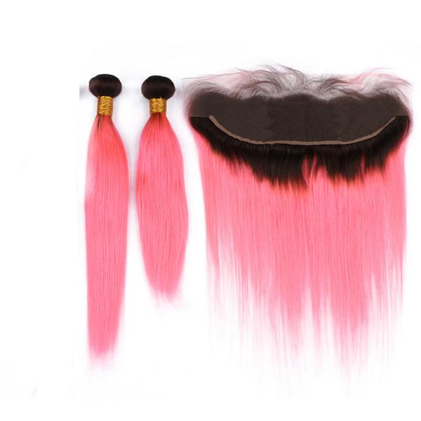 Dark Roots straight 1B Cheveux roses 3Bundles Avec Dentelle Frontale Ombre Rose Cheveux Raides Rose Tisse Une Extension Avec Top Pièces Frontales