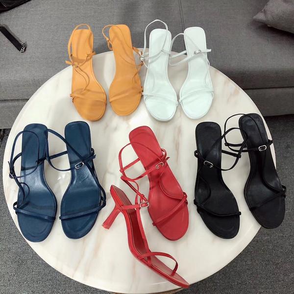NUEVA codiciadora sandalias de diseño para mujer Verano Bare sandalias de cuero correas esbeltas cuero suave 65 mm Zapatos de vestir de oficina Zapatos de fiesta