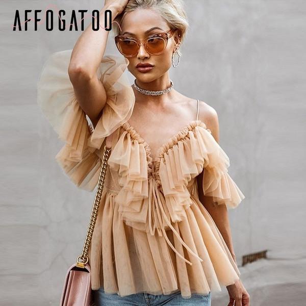 Affogatoo Plissee Rüsche Vintage Schößchen Top Frauen Schulterfrei Mesh Bluse Sommer 2018 Sexy Sleeveless Shirt Blusas C19040101