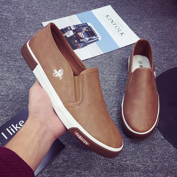 2019 erkek deri ayakkabı dört mevsim düşük ayakkabı yardımcı olmak için bir pedal tembel polo rahat 39-45