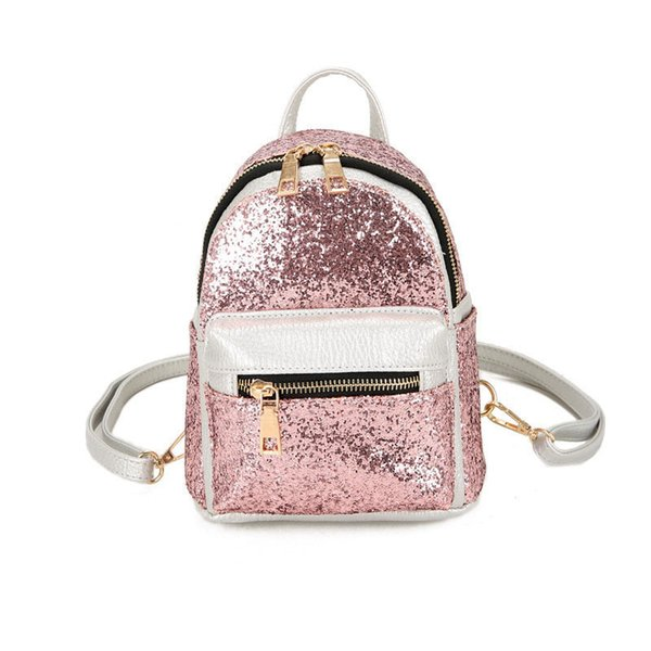 good quality 2019 Women's Backpacks Sequins Pu Leather Backpack Children Mini Bag Fashion Small Back Pack For Teenage Girls