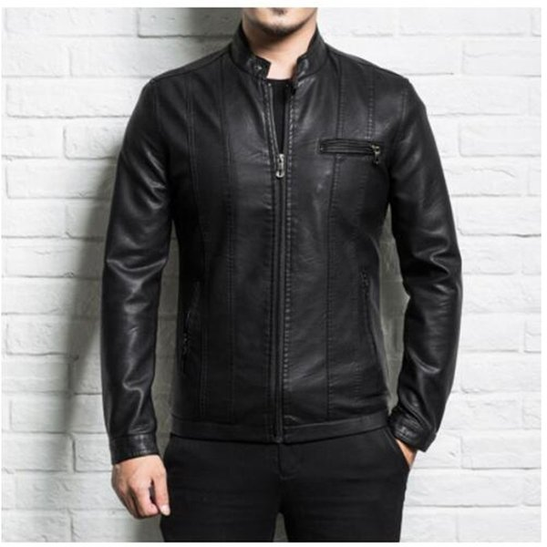 Erkekler hakiki deri ceket koyun derisi 2019 yeni ilkbahar ve sonbahar yakışıklı ince fermuar erkek motosiklet deri ceket genç erkek