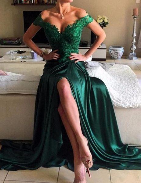 2019 Novos Vestidos de Desgaste Da Noite Verde Esmeralda Cetim Elástico Fora Do Ombro Do Sexo Apliques de Renda Dividir Lado Formal Prom Party Vestidos Custom Made