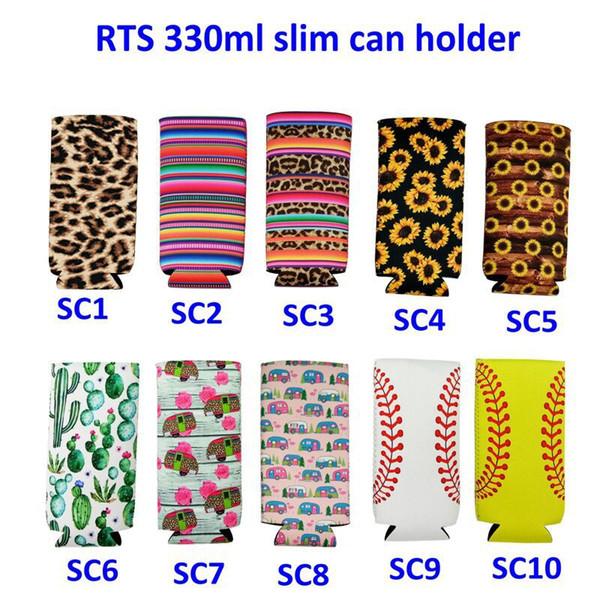 Slim Can Sleeve Sunflower Neoprene Insulator Cooler Base para lata de béisbol Cubiertas para botellas de agua Funda para botellas Bolsa Leopard Flower 10 Estilos M516F