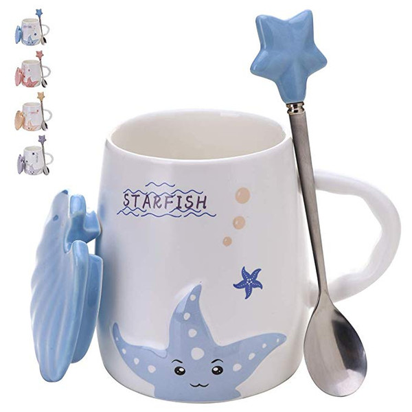 Adorable Ceramic Coffee Mug - Beautiful 14oz Tea Mugs Set with Matching Lid & Spoon - Large Pottery Drinking Cup - Dishwasher & Microwave S