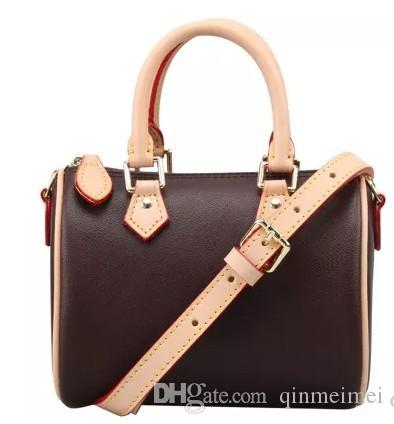 CLASSIC Luxury branded speedy25 30 35 shoulder zipper handbag with lock Real oxidizing leather canvas damier flower letter print pillow bags
