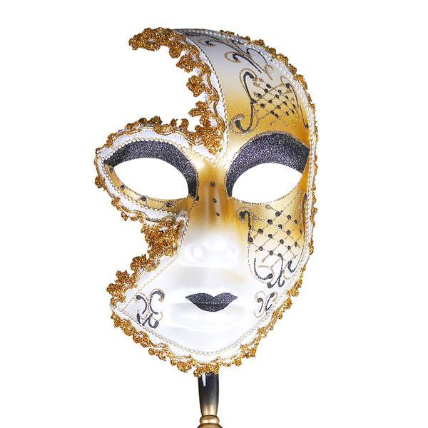 Máscara veneciana de mano Mascarada Mardi Gras Mujer Hombre Máscara de Venecia Muro Colección de arte decorativo navidad