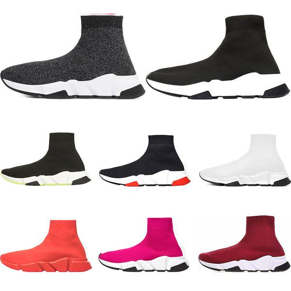 balenciaga shoes  2019 Designer Schuhe Luxury Brand Speed Trainer weiß Rot bule Dreibettzimmer Schwarz Weiß Flache Mode Socken Schuhe Laufsport Sneaker Größe 36-45