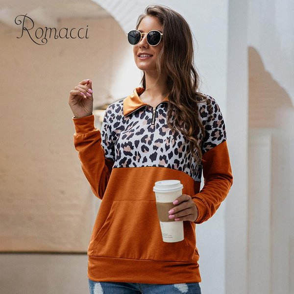 women sweatshirt colorblock leopard print splicing hoodies turn-down collar zipper dropped shoulder casual women's sweatshirt