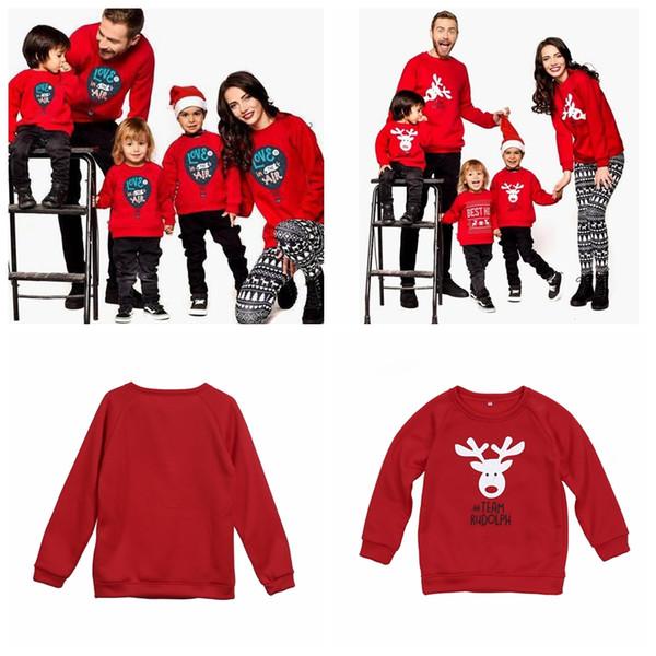 Familie passenden Hoodie Weihnachten Hirsch Print Eltern-Kind-Outfit Langarm Familie Tops Kinder Männer Frauen Kleidung Weihnachtsdekoration GGA1407